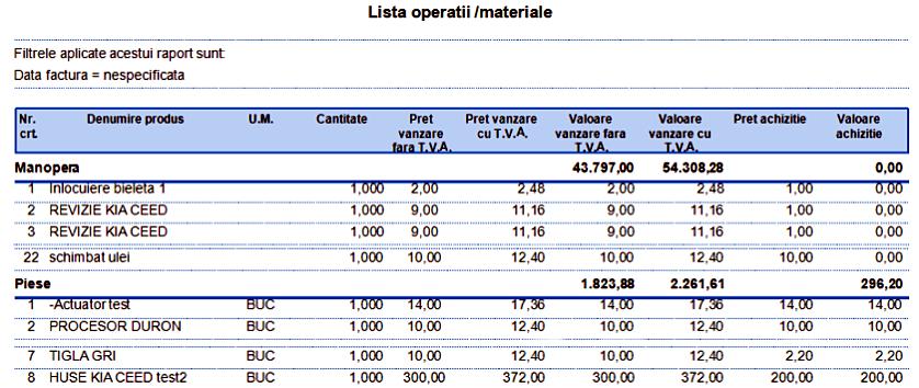 Comenzi Service Raport Lista operatii materiale