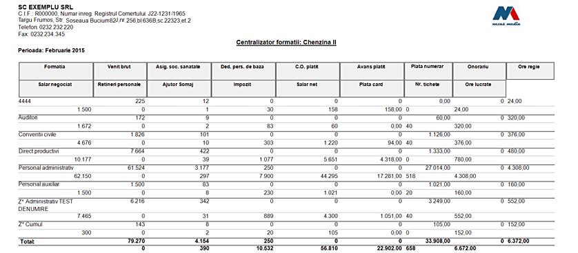Raport Centralizator formatii listare
