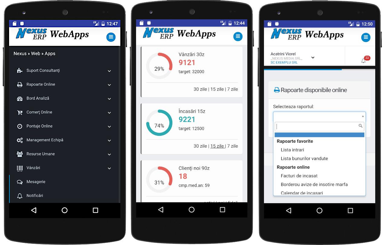 nexus erp apps 3 meniu bord rapoarte
