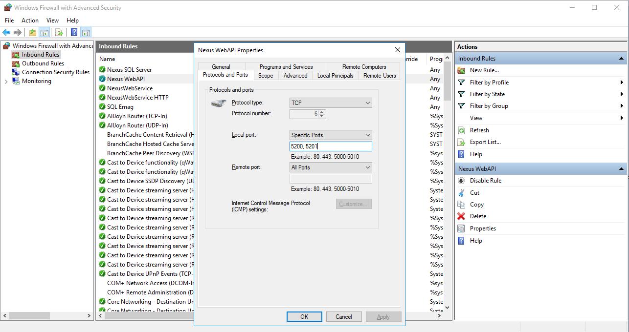 Nexus API Windows Firewall