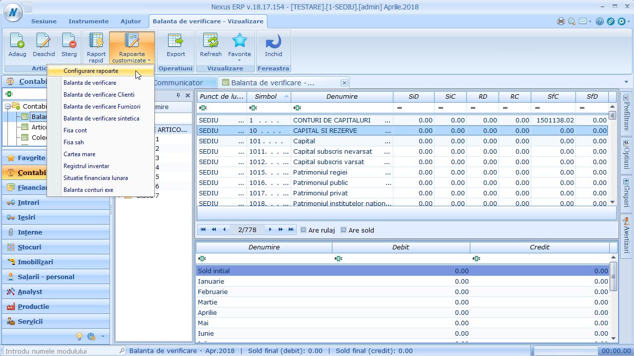 Balanta de verificare - configurare rapoarte