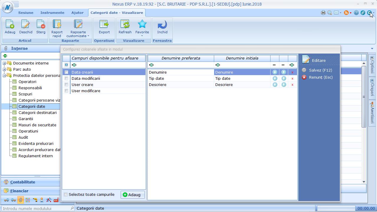 categorii date - configurare