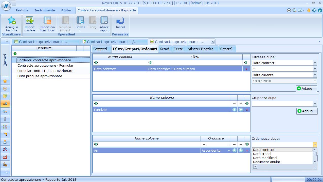 contracte aprovizionare rapoarte filtre