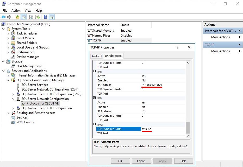 Vizualizare port SQL