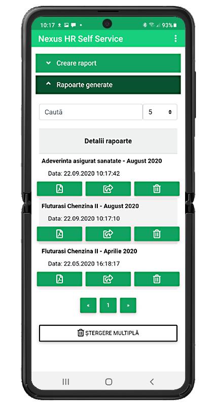 Nexus Online HR Self Service Generare Rapoarte