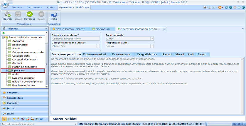 Configurare Operatiuni in Nexus