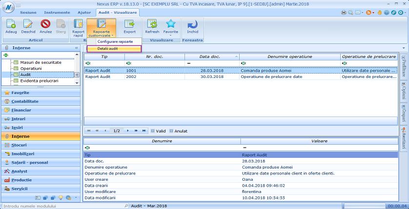 Buton raport: Detalii audit