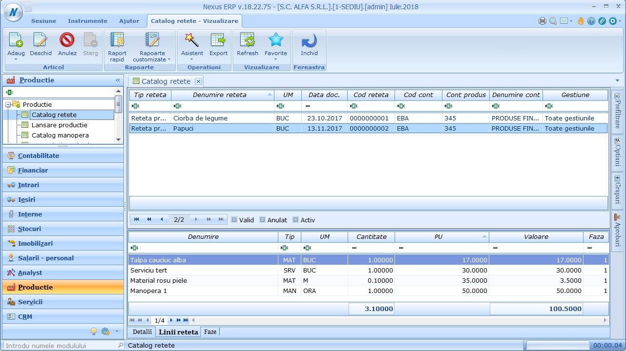 productie catalog retete detalii linii