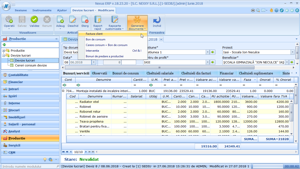 devize lucrari generare documente
